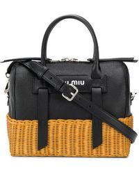 Miu Miu Basket Detail Tote Bag - Black