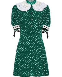 Miu Miu Heart Print Embroidered Collar Dress - Green