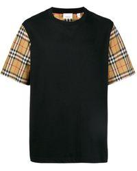 Burberry Check Sleeve T-shirt - Black