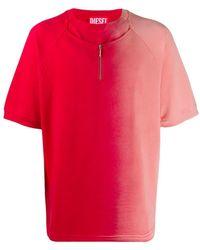 Diesel Red Tag Half Zip Gradient T-shirt - Red