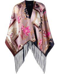 Ferragamo Duck-print Silk Poncho - Pink