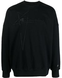 Rick Owens X Champion Logo-embroidered Pullover Sweatshirt - Black