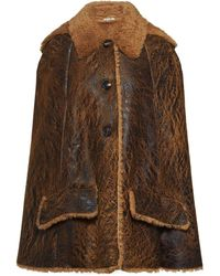 Miu Miu Shearling-lined Cape - Brown