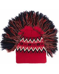 Junya Watanabe Tassel-edge Fair-isle Knitted Hat - Red