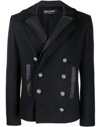Balmain - Two-collar Double-breasted Coat - Lyst