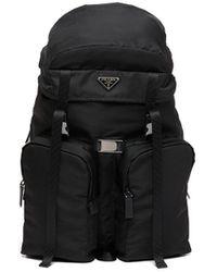 Prada Logo Plaque Backpack - Black