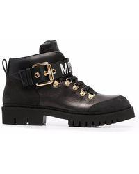 Moschino Logo-strap Chunky Boots - Black