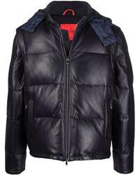 Isaia Leather Padded Jacket - Blue