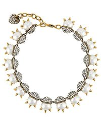 Gucci Spike-embellished Pearl Necklace - Metallic
