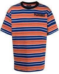 Pleasures Striped Logo-print T-shirt - Orange