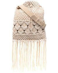 Alberta Ferretti Fringe-detail Shoulder Bag - Natural
