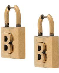 Balenciaga Small Lock Earrings - Metallic