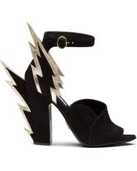Prada Flame Heeled Shoes - Black