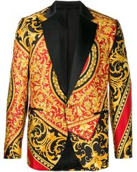 Versace Barocco Print Blazer - Red