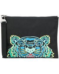 KENZO Embroidered Tiger Clutch Bag - Black