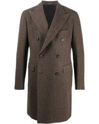 Tagliatore Herringbone-stripe Double-breasted Coat - Brown