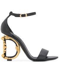 Dolce & Gabbana 105mm Baroque Leather Sandals - Black