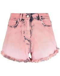 MSGM Distressed Denim Shorts - Pink