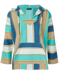 Alanui Striped Knitted Hoodie - Green