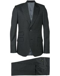 Gucci Logo Pinstripe Formal Suit - Gray