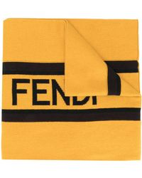 Fendi Intarsia-knit Logo Scarf - Yellow
