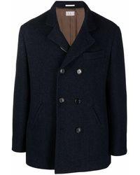 Brunello Cucinelli Chevron-knit Double-breasted Coat - Blue