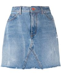 Heron Preston Raw-trimmed Denim Skirt Blue