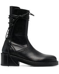 Ann Demeulemeester Rear Lace-up Ankle Boots - Black