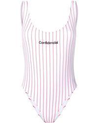 Marcelo Burlon Confidencial Striped Swimsuit - White
