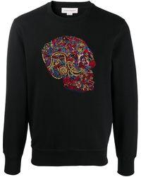 Alexander McQueen Skull-embroidered Sweatshirt - Black