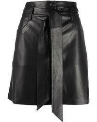 Nanushka Belted Faux-leather Skirt - Black