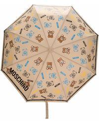 Moschino Teddy Bear-handle Printed Umbrella - Multicolor