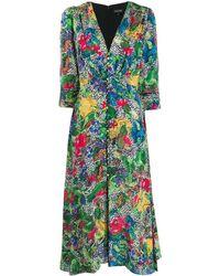 Saloni Floral V-neck Dress - Green