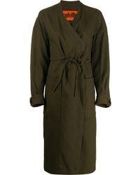 Colville Wrap-style Long Coat - Green