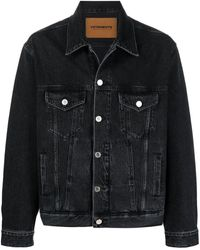 Vetements Logo Print Denim Jacket - Black