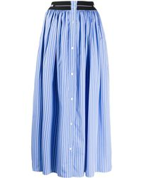 MSGM Pinstriped A-line Skirt - Blue