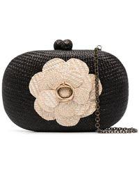 Serpui Woven-flower Clutch Bag - Black