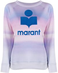 Étoile Isabel Marant Logo Print Watercolour Sweater - Blue