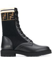 Fendi Rockoko Combat Boots - Black