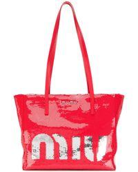 Miu Miu Logo Print Tote - Red