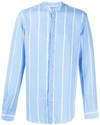 Xacus Stripped Collarless Shirt - Blue