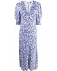 RIXO London Floral-print Midi Dress - Purple