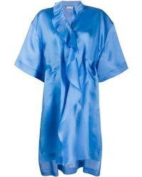 Nina Ricci Draped Oversized Silk Dress - Blue
