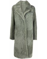 DROMe Shearling Single-breasted Coat - Green