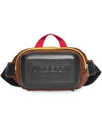 Burberry Logo Embossed Panel Nylon Bum Bag - Black