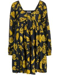 Versace Jeans Couture Baroque Print Flared Dress - Black
