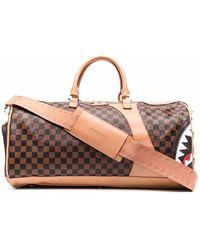 Sprayground Checkerboard Logo-print Duffle Bag - Brown