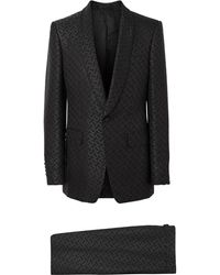 Burberry Monogram Jacquard English Fit Suit - Black