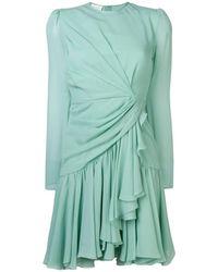 Giambattista Valli Ruffled Asymmetric-hem Silk Mini Dress - Green