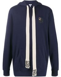 Loewe Embroidered Logo Cotton Hoodie - Blue